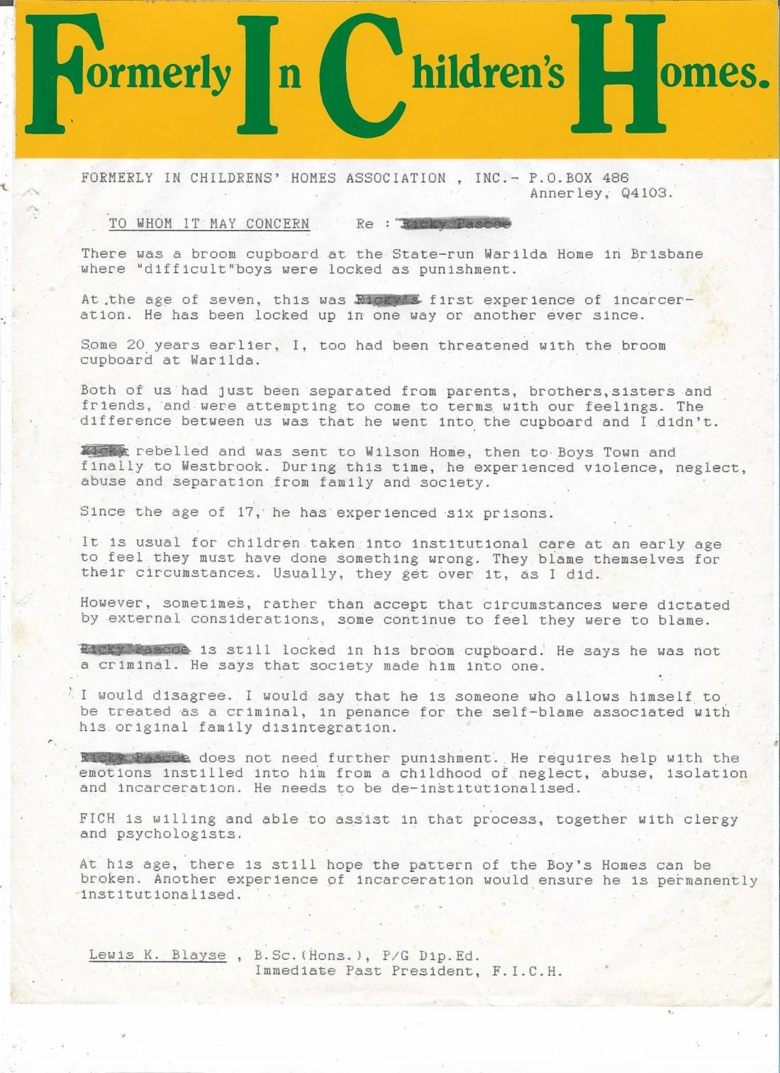 Sentencing letter