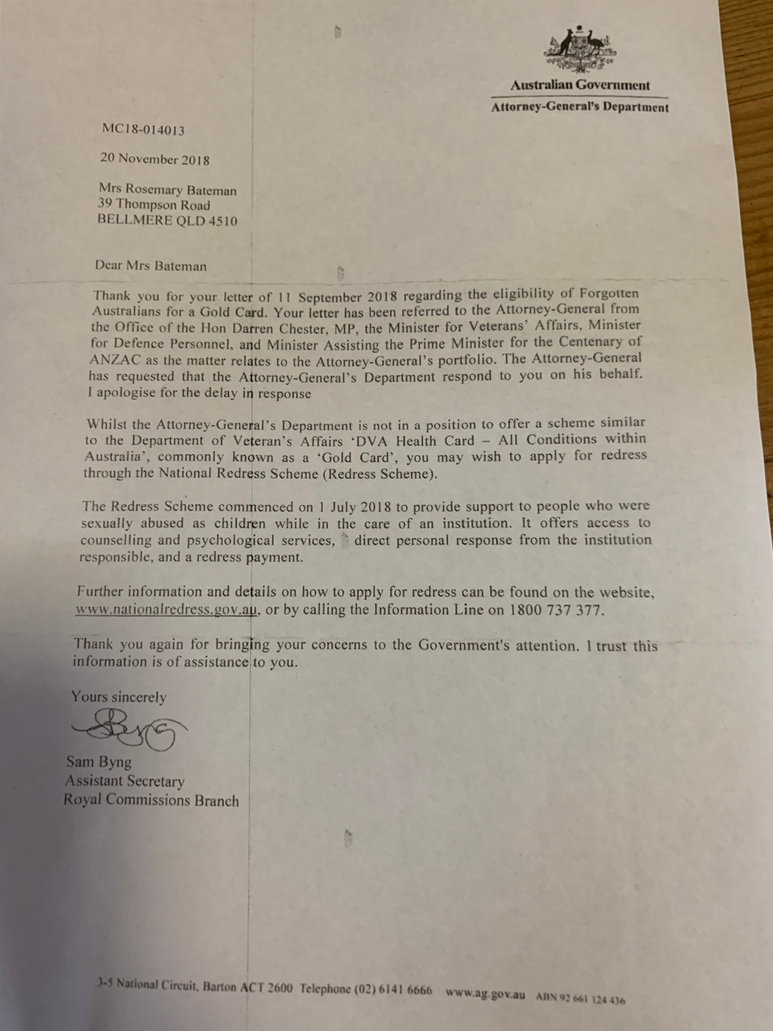Attorney General reply to Rosemary